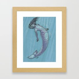 Mermaid in Blue Framed Art Print