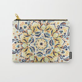 Stained Glass Mandala - Mustard, Yellow & Navy Carry-All Pouch