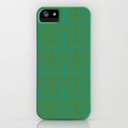 Doors & corners op art pattern in olive green and aqua blue iPhone Case