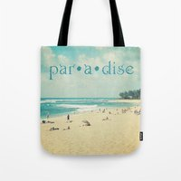 paradise Tote Bags featuring paradise by Sylvia Cook Photography
