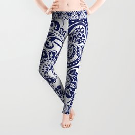 damask blue and white Leggings