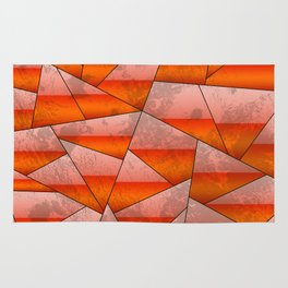 Geometric abstract shapes in red gradient Rug