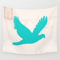 postcard Wall Tapestries featuring Old Postcard with Bird Silhouette by Lena Photo Art