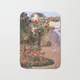 Classical Masterpiece 'The Rose Garden and Red Poppies' by Frederick Childe Hassam Bath Mat