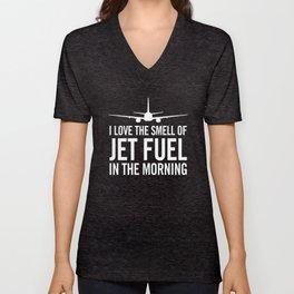 I Love the Smell of Jet Fuel in the Morning Aviation Illustration Unisex V-Neck