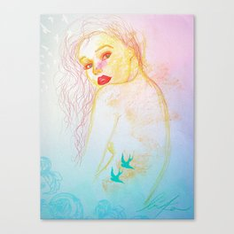 the dream mermaid with bird tattoos Canvas Print