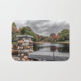 Cloudy autumn day at Millbrook Pond Rockport Bath Mat