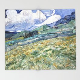 Landscape from Saint-Remy by Vincent van Gogh Throw Blanket