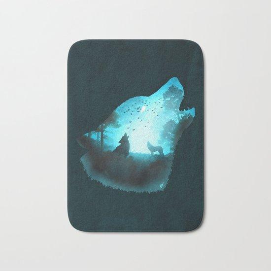 Blue Wolf Bath Mat