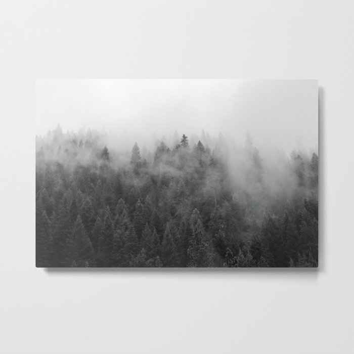 Black and White Mist Metal Print