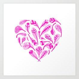 Feather Heart (Magenta) Art Print