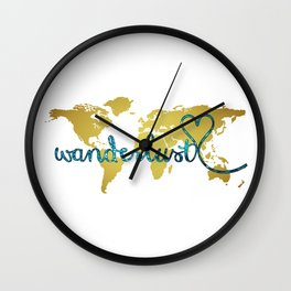 Wanderlust Gold Foil Map with Teal Glitter Text Wall Clock