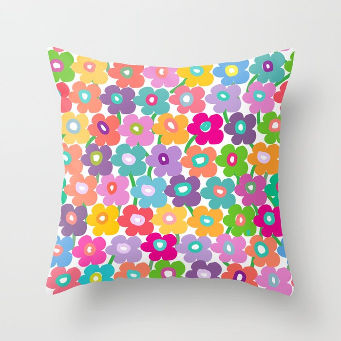 Hippy Dippy Happy Flowrs Throw Pillow