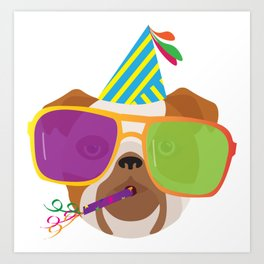Party Bulldog With Party hat and Colorful Sunglasses Art Print