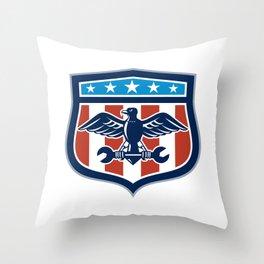 American Eagle Mechanic USA Flag Crest Throw Pillow