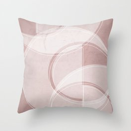 Where the Circles and Semi-Circles Meet in Shell Pink Throw Pillow