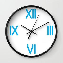 Second of a series of 10 TypoClock Modern Cyan Roman numerals Wall Clock