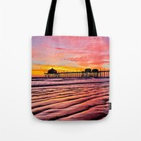 calendar 2015 Tote Bags featuring HB Sunsets Calendar Cover 2015 by John Minar Fine Art Photography