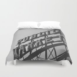 Seattle Pike Place Public Market Black and White Duvet Cover