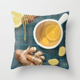 Ginger Honey Lemon Tea Illustration Throw Pillow
