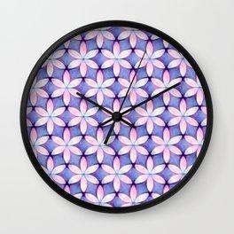 Daisies Pink Blue Wall Clock