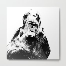 Gorilla In A Pensive Mood Portrait #decor #society6 Metal Print