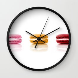 Red, Yellow, Pink, Macarons Wall Clock