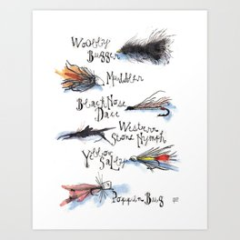 Fishing Flies Art Print