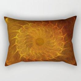 Vintage Orange Fractal Mandala Rectangular Pillow