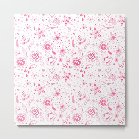 Pink doodle flowers pattern on white Metal Print