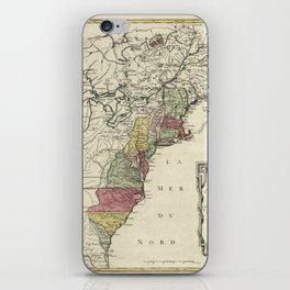 Colonial America Map by Matthaus Lotter (1776) iPhone Skin