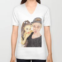 ariana grande V-neck T-shirts featuring Ariana and Justin by Share_Shop