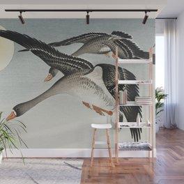Ohara Koson - Birds at full moon Wall Mural