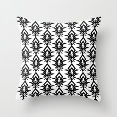Black and White Victorian Pattern Throw Pillow
