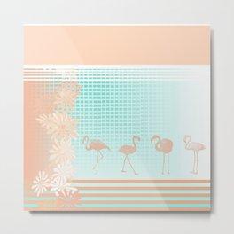 Peach & Teal Pretty Flamingo Metal Print