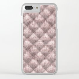 Quilted Dusty Pink Velvety Faux Toweling Design Clear iPhone Case