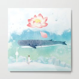 Lotus whale swimming in the blue sky Metal Print