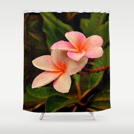 Hawaiian Orange Sherbet Plumeria Shower Curtain