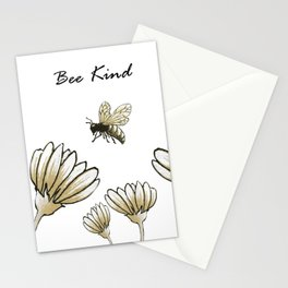 Bee kind buzzy bumble bee with flowers Stationery Cards