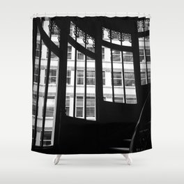 Windows in Infamous Rookery Building Chicago Illinois Black and White Photo Shower Curtain