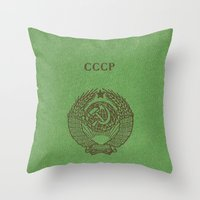 soviet Throw Pillows featuring Soviet prove by KRADA ZHAN ART