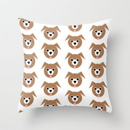 Brown Dogs Pattern Throw Pillow