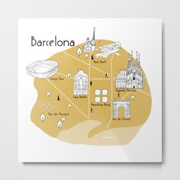 Mapping Barcelona - Yellow Metal Print