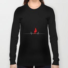 Windsurfing Heartbeat Surfer Surf  Wind Sail Gift  Long Sleeve T-shirt