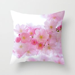 Closeup of a Blossoming Japanese Cherry Tree Throw Pillow