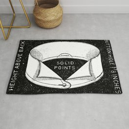 black and white vintage shirt collar retro laundry room Rug