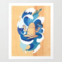 One With The Waves - Ocean, surfing, mindfulness Art Print