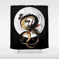dragonball Shower Curtains featuring Black Dragon by TxzDesign