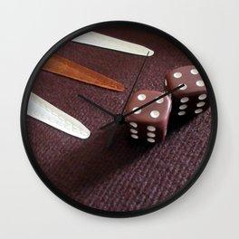 Backgammon dice double Wall Clock