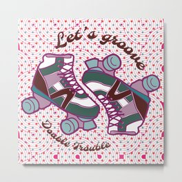 Let's Groove Roller Derby Dots White Metal Print